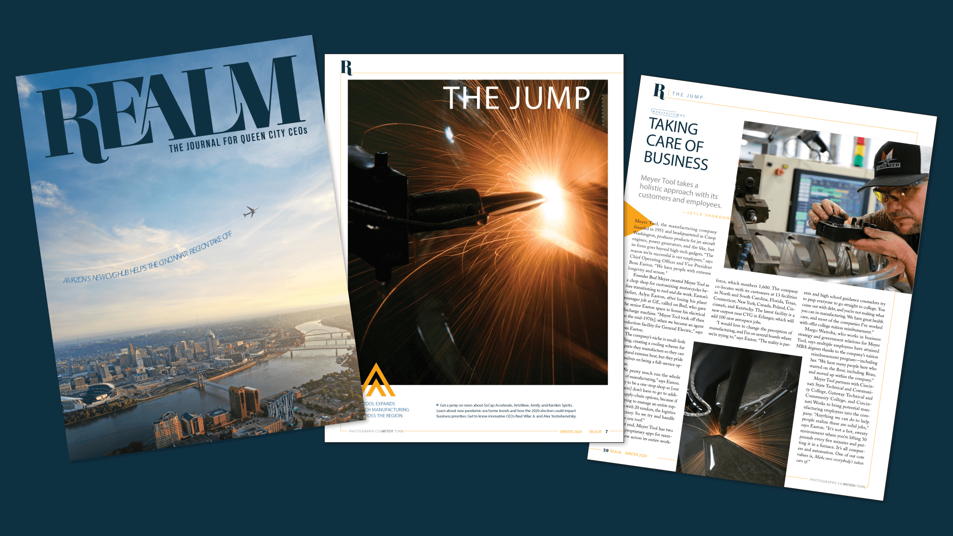 pages from realm magazine featuring meyer tool in 2020
